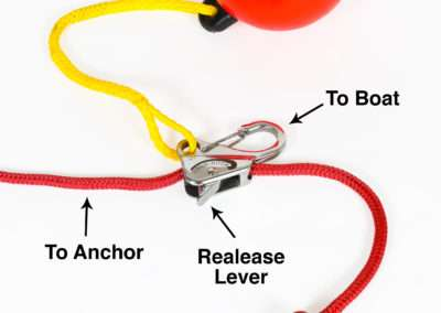 steel universal hook with red buoy